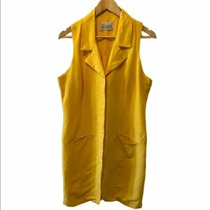 VINTAGE Yellow Cotton Sleeves Button Up Trench